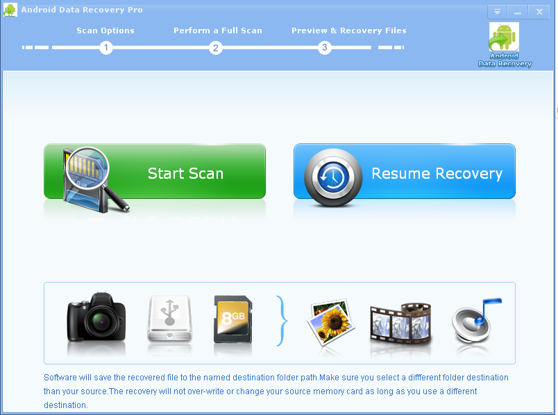 Click to view Android Data Recovery Pro screenshots