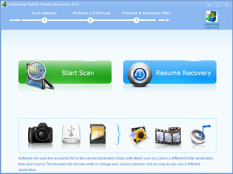 Click to view Samsung Mobile Phone Recovery Pro 2.6.8 screenshot