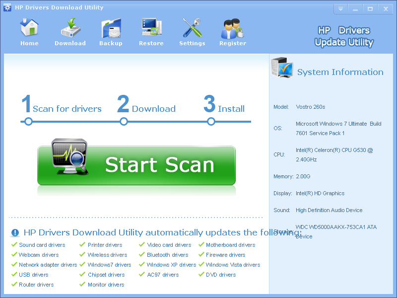 HP Drivers Download Utility