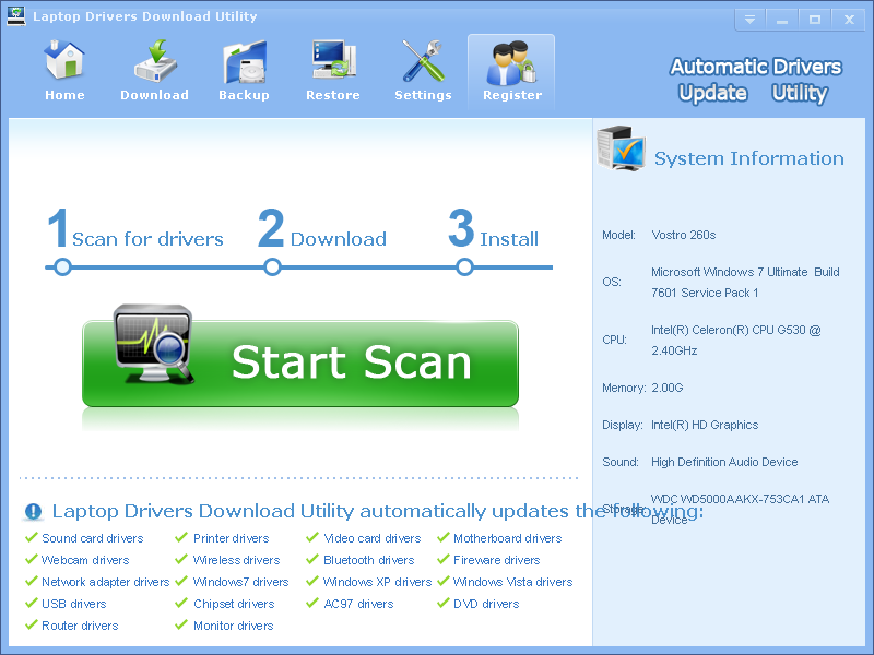 Click to view Laptop Drivers Download Utility screenshots