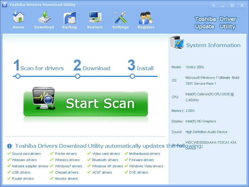Toshiba Drivers Download Utility is great