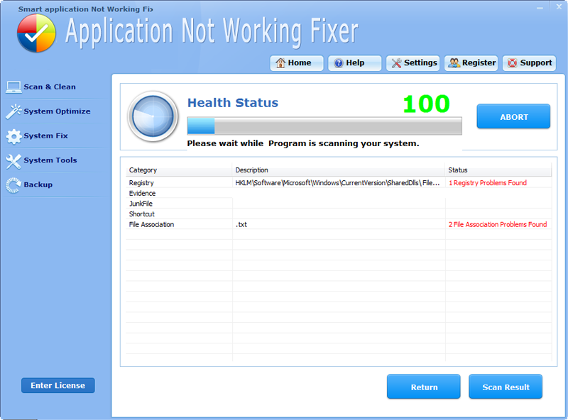 Click to view Smart Application Not Working Fixer Pro 4.5.9 screenshot