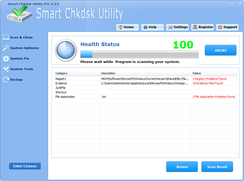 Click to view Smart Chkdsk Utility Software Pro screenshots