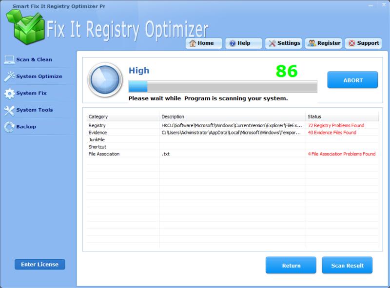 Click to view Smart Fix It Registry Optimizer Pro screenshots