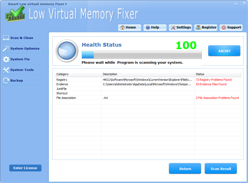Click to view Smart Low Virtual Memory Fixer Pro screenshots