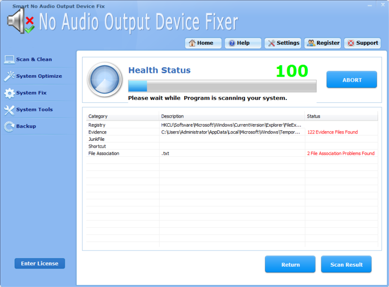 Click to view Smart No Audio Output Device Fixer Pro screenshots