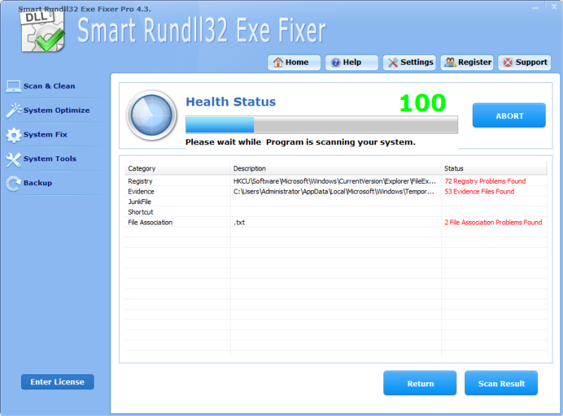 Click to view Smart Rundll32 Exe Fixer Pro 4.3.3 screenshot
