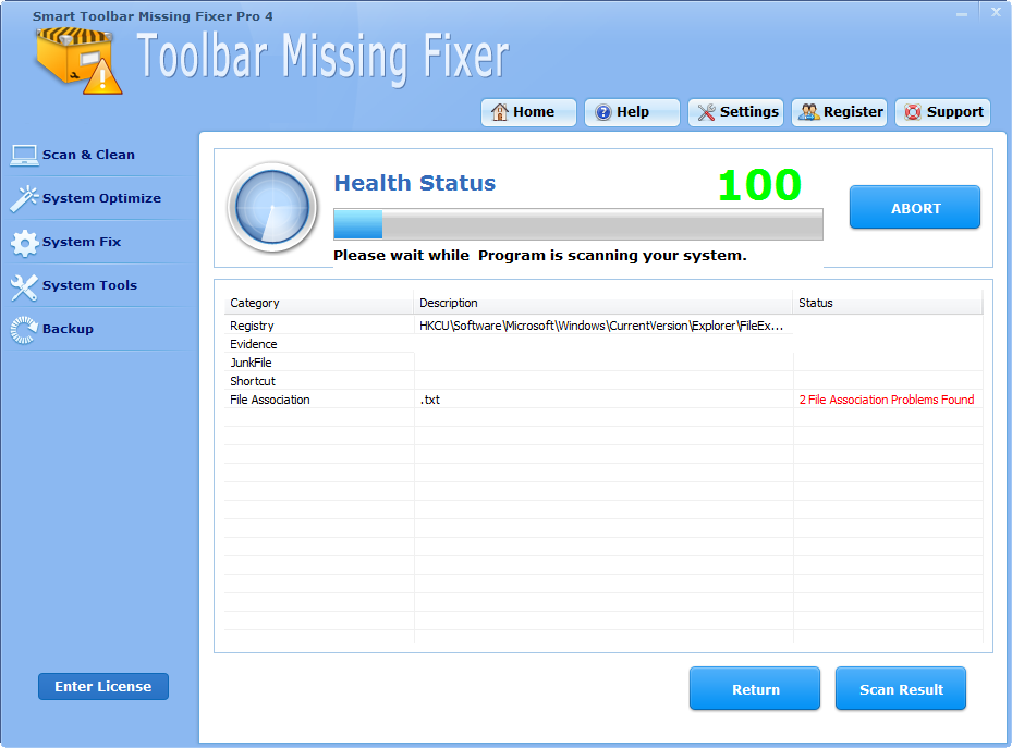 Click to view Smart Toolbar Missing Fixer Pro 4.3.8 screenshot