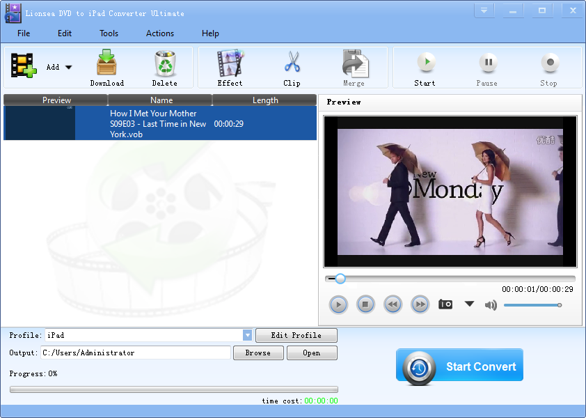Lionsea DVD To IPad Converter Ultimate full screenshot