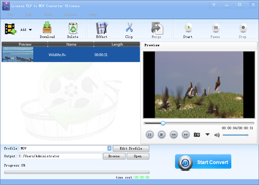 Windows 8 Lionsea FLV To MOV Converter Ultimate full