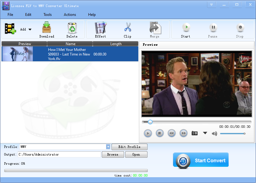 Windows 7 Lionsea FLV To WMV Converter Ultimate 4.5.7 full