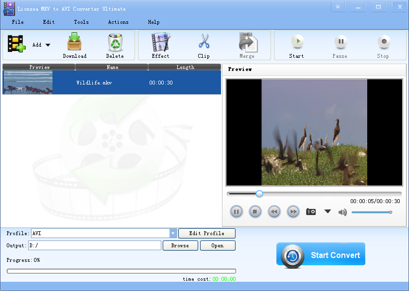 Click to view Lionsea MKV To AVI Converter Ultimate 4.7.4 screenshot