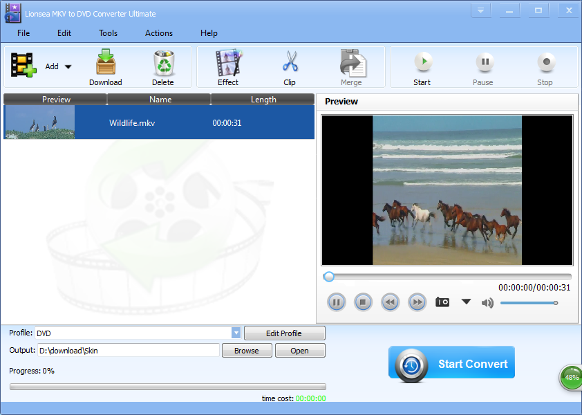 Windows 7 Lionsea MKV To DVD Converter Ultimate 4.5.3 full
