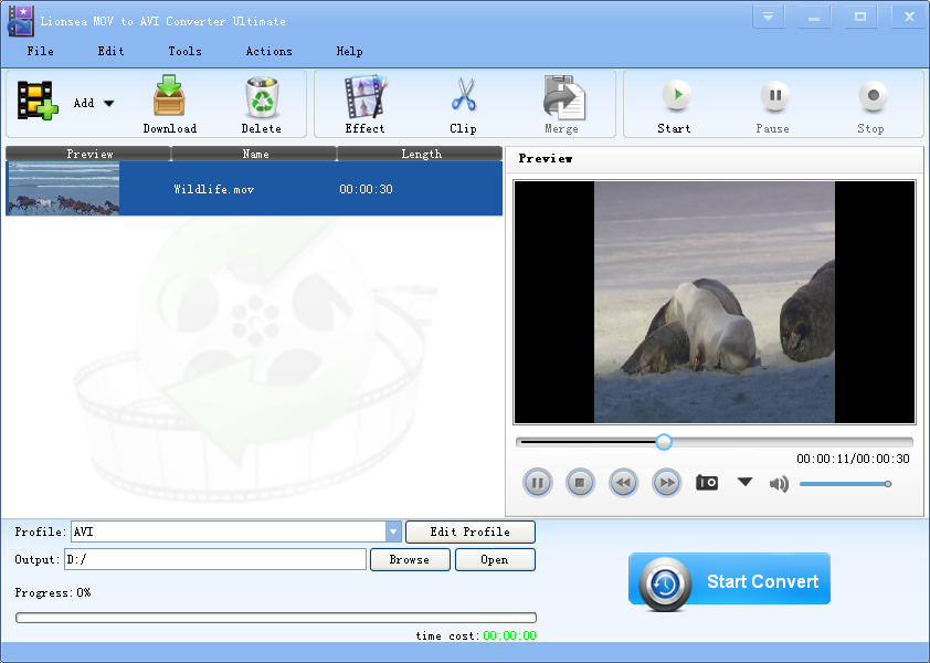 Windows 7 Lionsea MOV To AVI Converter Ultimate 4.3.7 full