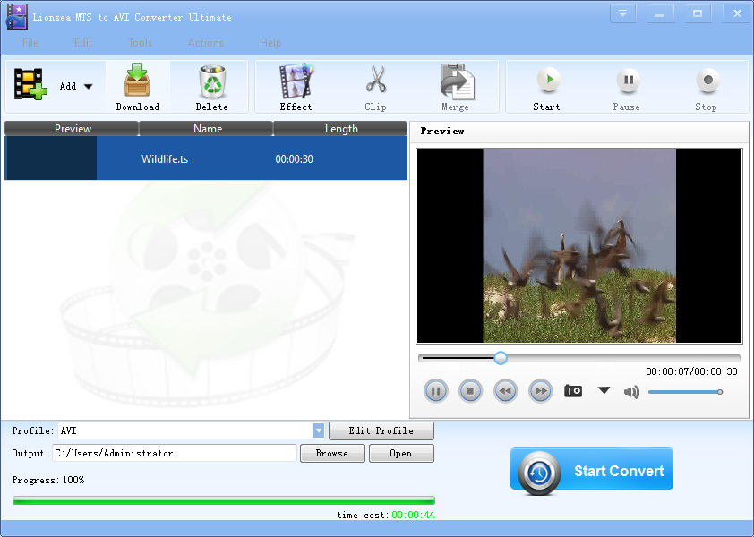 Windows 7 Lionsea MTS To AVI Converter Ultimate 4.9.5 full