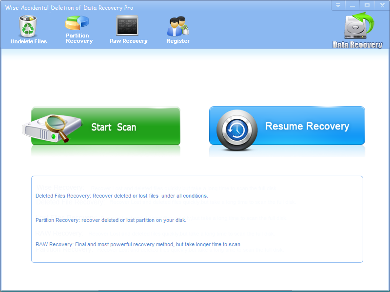 Click to view Wise Accidental Deletion Of Data Recovery screenshots