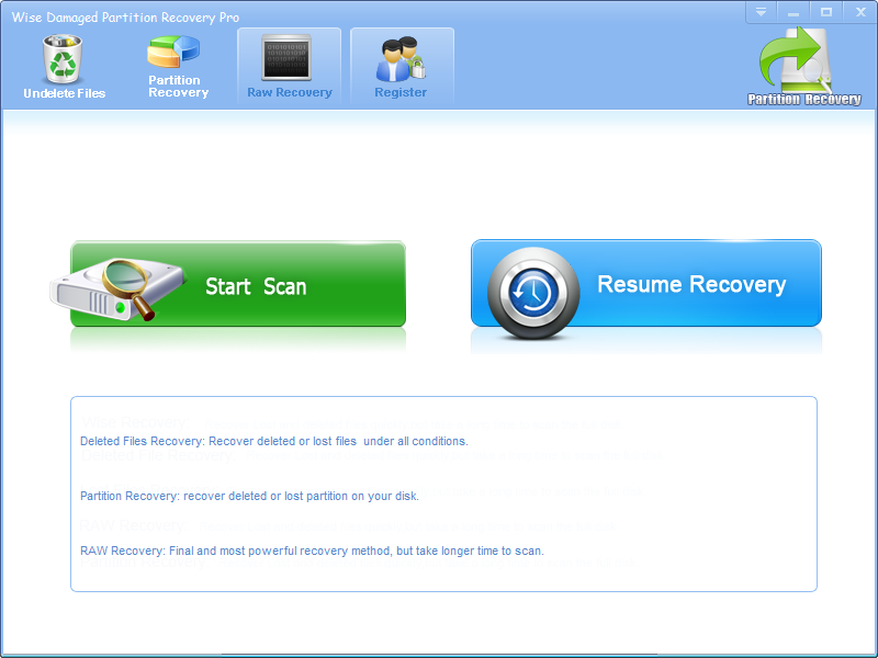 Click to view Wise Damaged Partition Recovery 2.8.1 screenshot