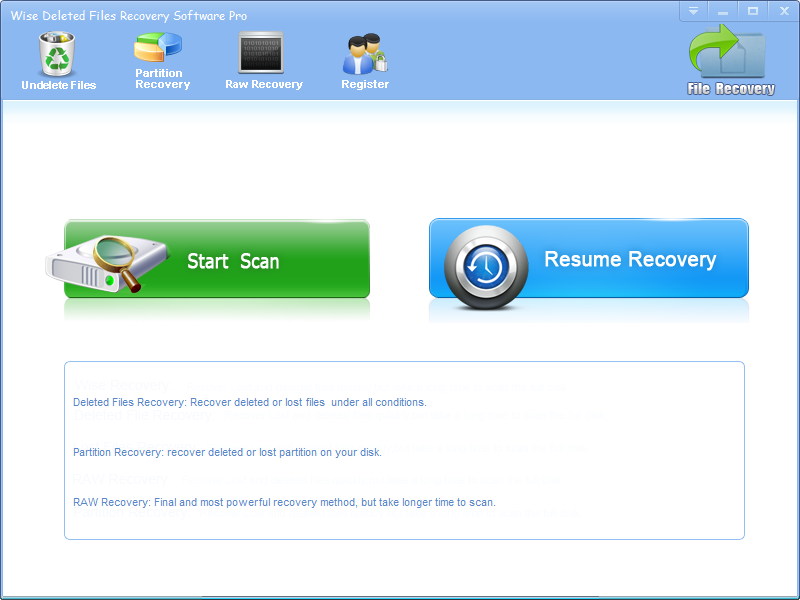 Wise Deleted Files Recovery Software Screen shot