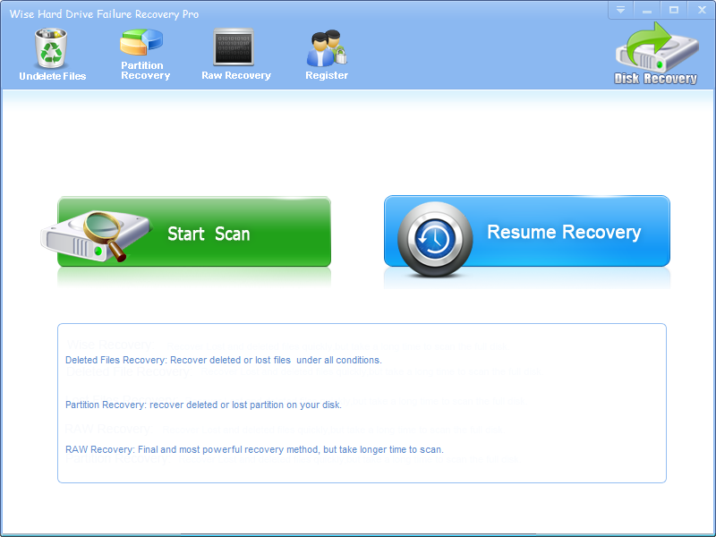 Click to view Wise Hard Drive Failure Recovery screenshots