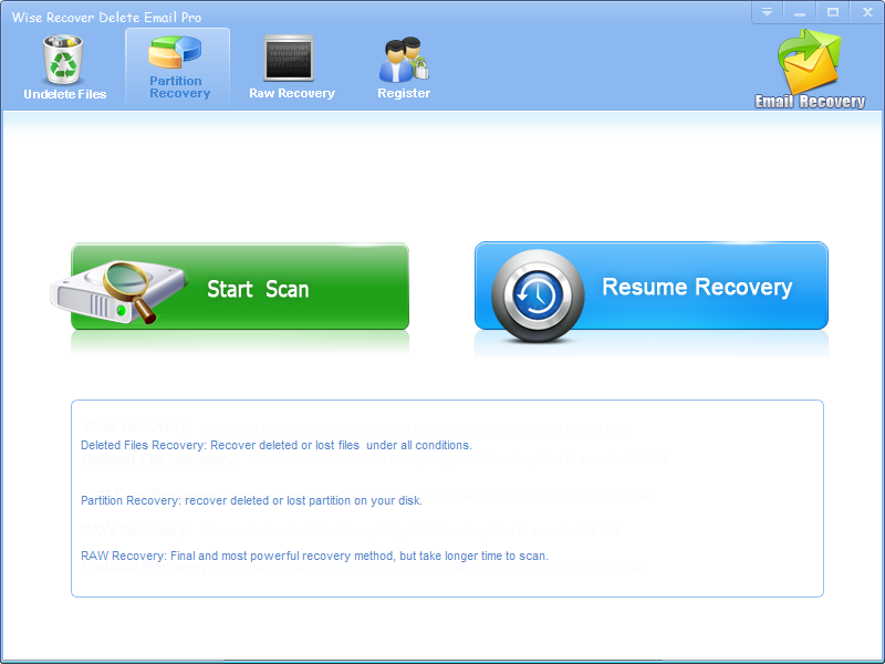 Click to view Wise Recover Delete Email screenshots