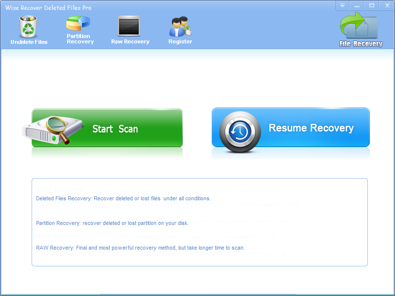 Windows 7 Wise Recover Deleted Files 2.6.1 full