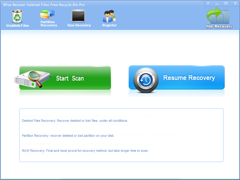 Wise Recover Deleted Files From Recycle Bin Screen shot