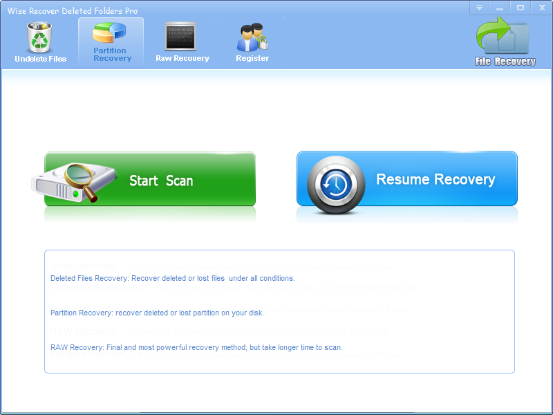 Click to view Wise Recover Deleted Folders screenshots