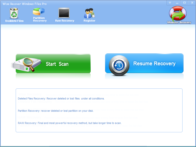Click to view Wise Recover Windows Files screenshots
