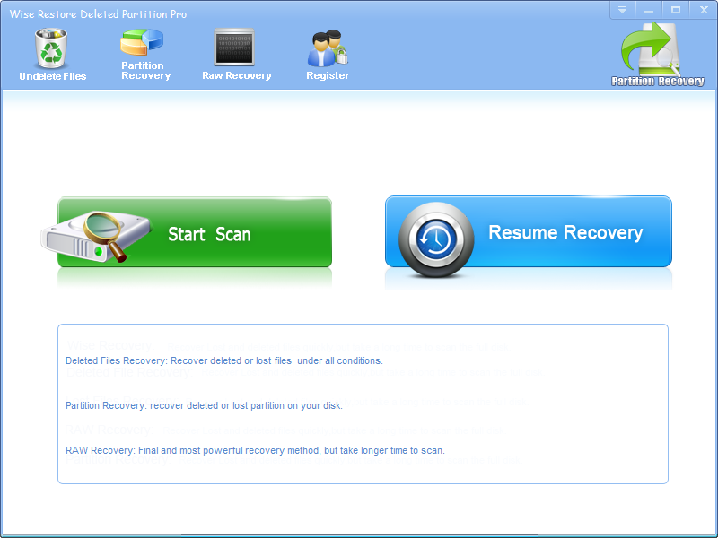 Click to view Wise Restore Deleted Partition screenshots