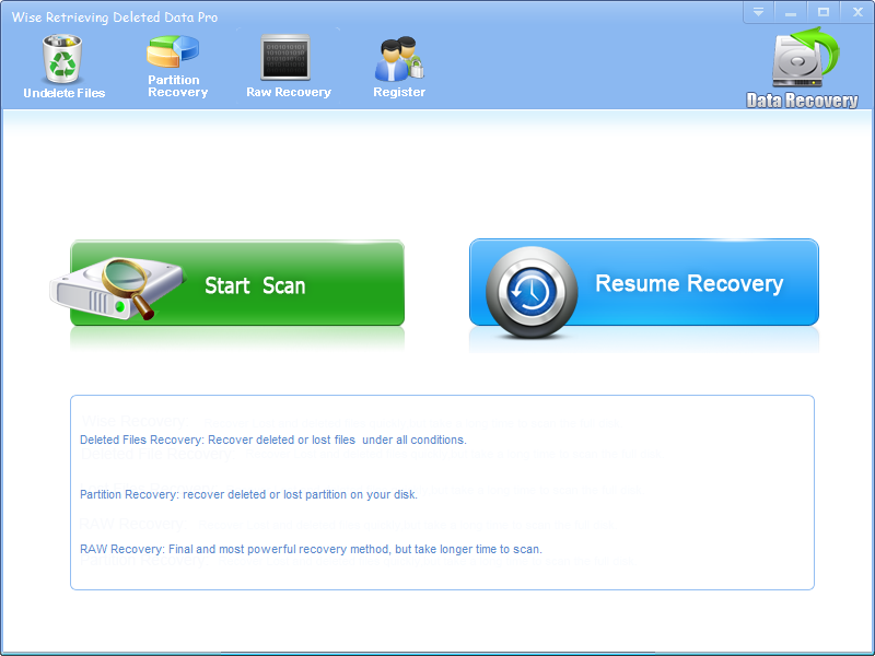 Click to view Wise Retrieving Deleted Data screenshots