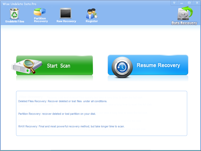 Click to view Wise Undelete Data 2.9.6 screenshot