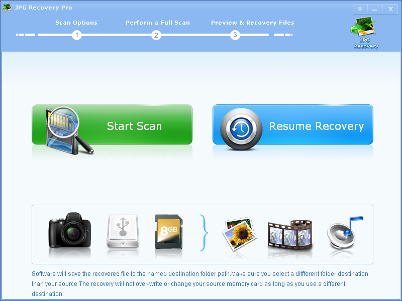 Recover lost JPG files from memory card.